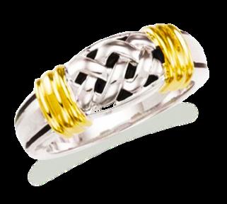 Daniella two tone with lattice design wedding ring