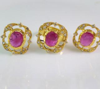 Dark Pink Ruby stones ring and earings set